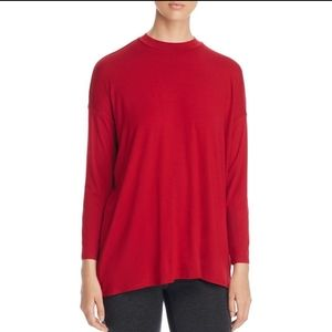 Eileen Fisher Mock Neck Jersey Tunic Top